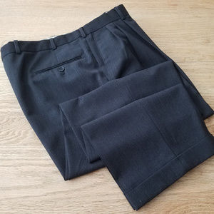 Pronto Uomo Black Worsted Wool Pleated Pants 38